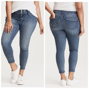 Torrid Polka Dot Jegging Plus 20R Medium Wash